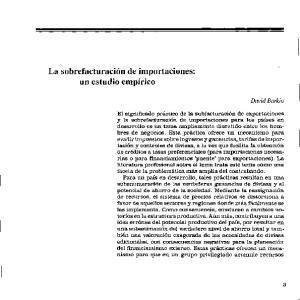 La sobrefacturaci6n de importaciones: un estudio empirico