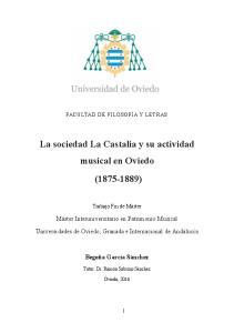 La sociedad La Castalia y su actividad musical en Oviedo ( )