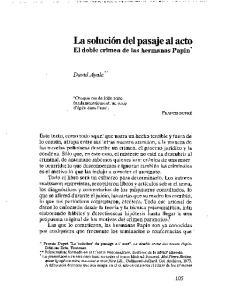 La solucion del pasaje al acto El doble crimen de las hermanas papina