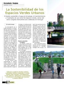 La Sostenibilidad de los Espacios Verdes Urbanos