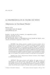 LA TELEPRESENCIA EN EL TEATRO DE TEXTO