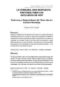 LA TERNURA, UNA RESPUESTA PASTORAL PARA LOS EXCLUIDOS DE HOY