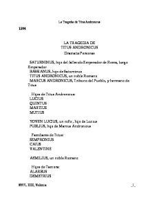 LA TRAGEDIA DE TITUS ANDRONICUS Dramatis Personae
