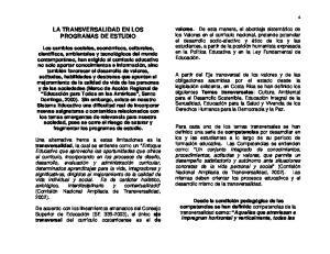 LA TRANSVERSALIDAD EN LOS PROGRAMAS DE ESTUDIO