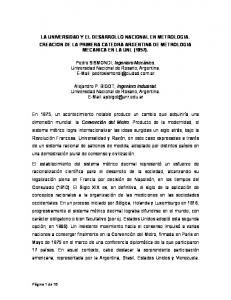 LA UNIVERSIDAD Y EL DESARROLLO NACIONAL EN METROLOGIA. CREACION DE LA PRIMERA CATEDRA ARGENTINA DE METROLOGIA MECANICA EN LA UNL (1957)
