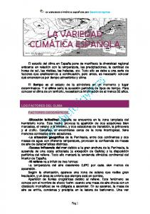 LA VARIEDAD CLIMÁTICA ESPAÑOLA