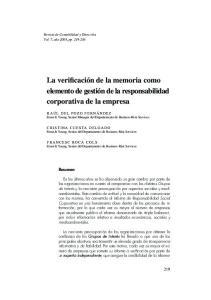 La verificación de la memoria como elemento de gestión de la responsabilidad corporativa de la empresa