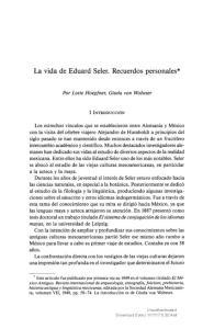 La vida de Eduard Seier. Recuerdos personales*