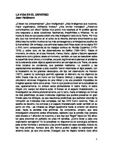 LA VIDA EN EL UNIVERSO Jean Heidmann