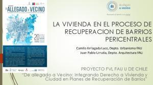 LA VIVIENDA EN EL PROCESO DE RECUPERACION DE BARRIOS PERICENTRALES