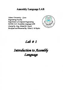 Lab # 1. Introduction to Assembly Language