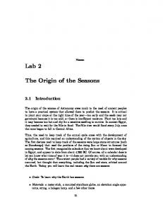 Lab 2. The Origin of the Seasons. 2.1 Introduction