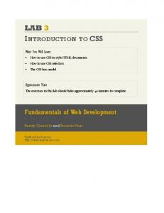 LAB 3 INTRODUCTION TO CSS