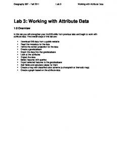Lab 3: Working with Attribute Data