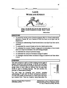 LAB 6: WORK AND ENERGY