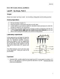 Lab #7: Op Amps, Part 2