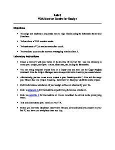 Lab 8 VGA Monitor Controller Design