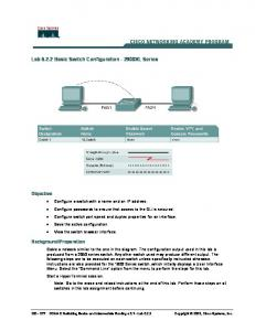 Lab Basic Switch Configuration XL Series