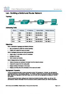Lab - Building a Switch and Router Network