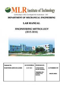 LAB MANUAL ENGINEERING METROLOGY ( )