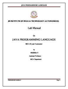 Lab Manual JAVA PROGRAMMING LANGUAGE