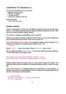 Lab100 Week 16: Simulation in R. Random numbers