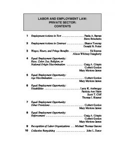 LABOR AND EMPLOYMENT LAW: PRIVATE SECTOR: CONTENTS