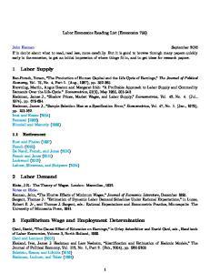 Labor Economics Reading List (Economics 750)