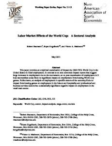Labor Market Effects of the World Cup: A Sectoral Analysis