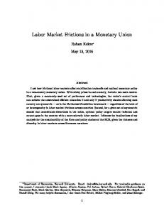 Labor Market Frictions in a Monetary Union