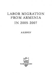 LABOR MIGRATION FROM ARMENIA IN A SURVEY
