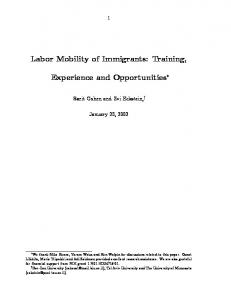 Labor Mobility of Immigrants: Training, Experience and Opportunities
