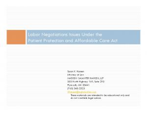 Labor Negotiations Issues Under the Patient Protection and Affordable Care Act