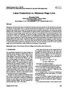 Labor Productivity vs. Minimum Wage Level