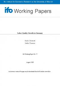 Labor Quality Growth in Germany