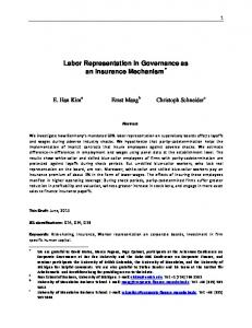 Labor Representation in Governance as an Insurance Mechanism