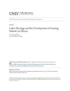 Labor Shortage and the Development of Gaming Industry in Macau