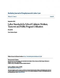 Labor Standards for School Cafeteria Workers, Turnover and Public Program Utilization