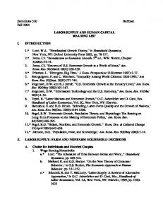 LABOR SUPPLY AND HUMAN CAPITAL READING LIST