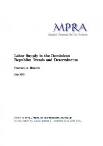 Labor Supply in the Dominican Republic: Trends and Determinants