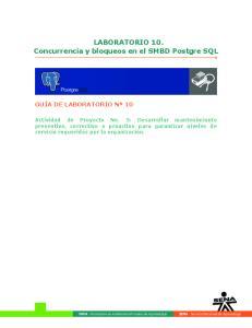 LABORATORIO 10. Concurrencia y bloqueos en el SMBD Postgre SQL