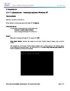 Laboratorium Instalacja systemu Windows XP