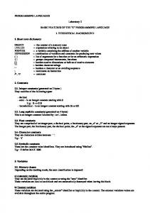 Laboratory 2 BASIC FEATURES OF THE