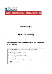 Laboratory 2. Word Processing