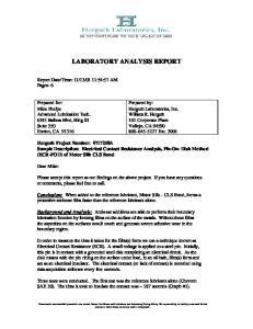 LABORATORY ANALYSIS REPORT