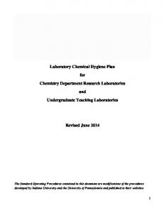 Laboratory Chemical Hygiene Plan. for. Chemistry Department Research Laboratories. and. Undergraduate Teaching Laboratories