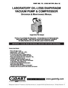 LABORATORY OIL-LESS DIAPHRAGM VACUUM PUMP & COMPRESSOR