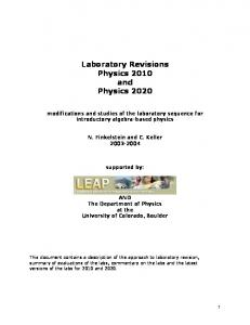 Laboratory Revisions Physics 2010 and Physics 2020