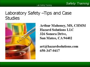 Laboratory Safety Tips and Case Studies