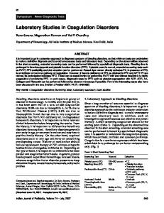 Laboratory Studies in Coagulation Disorders